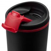 Термостакан Relief, черный с красным