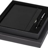 Подарочный набор Falsetto из блокнота форматаА5 и ручки, черный, арт. 018953803