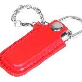 Флешка в массивном корпусе с кожаным чехлом, 8 Гб, красный (8Gb), арт. 019280703