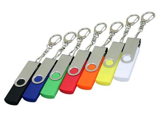 Флешка с  поворотным механизмом, c дополнительным разъемом Micro USB, 64 Гб, белый (64Gb), арт. 019257603