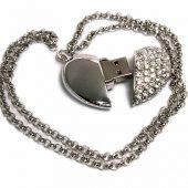 USB-флешка на 64 ГБ в виде Сердца  с кристаллами, серебро (64Gb), арт. 019468803