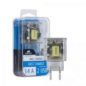 Сетевое зарядное устройство VA4123, прозрачный, арт. 019455603