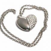 USB-флешка на 32 Гб в виде Сердца с кристаллами, серебро (32Gb), арт. 019468603