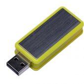 USB-флешка промо на 16 Гб прямоугольной формы, выдвижной механизм, желтый (16Gb), арт. 019401203