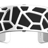 Браслет-бэнгл из латуни с гальваническим покрытием белым родием и серебром, 25мм, арт. 020134003