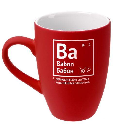 Кружка «Бабон» с покрытием софт-тач, ярко-красная