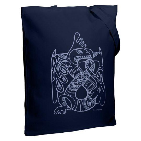 Холщовая сумка «Кетцалькоатль», темно-синяя
