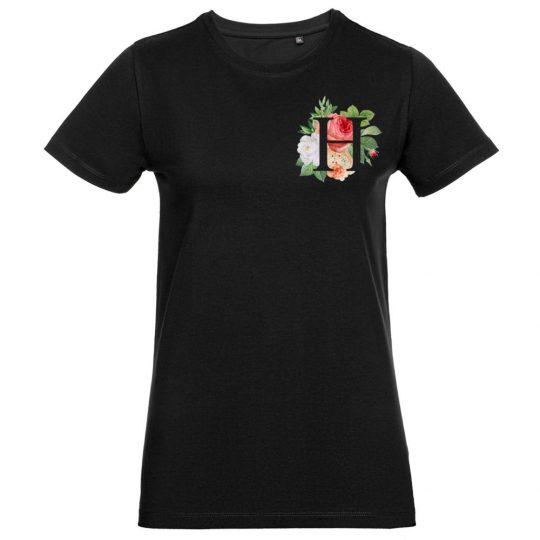 Футболка женская «Цветочная азбука Н», черная, размер XL