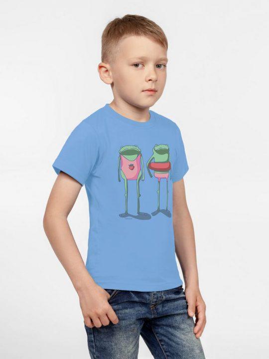 Футболка детская «Лягушата на пляже», голубая, 8 лет