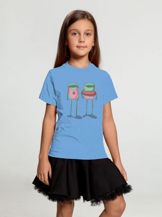 Футболка детская «Лягушата на пляже», голубая, 10 лет