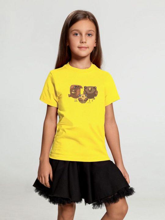 Футболка детская «Семейство сов», желтая, 10 лет