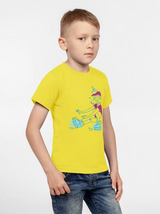 Футболка детская Roller Skates, желтая, 8 лет