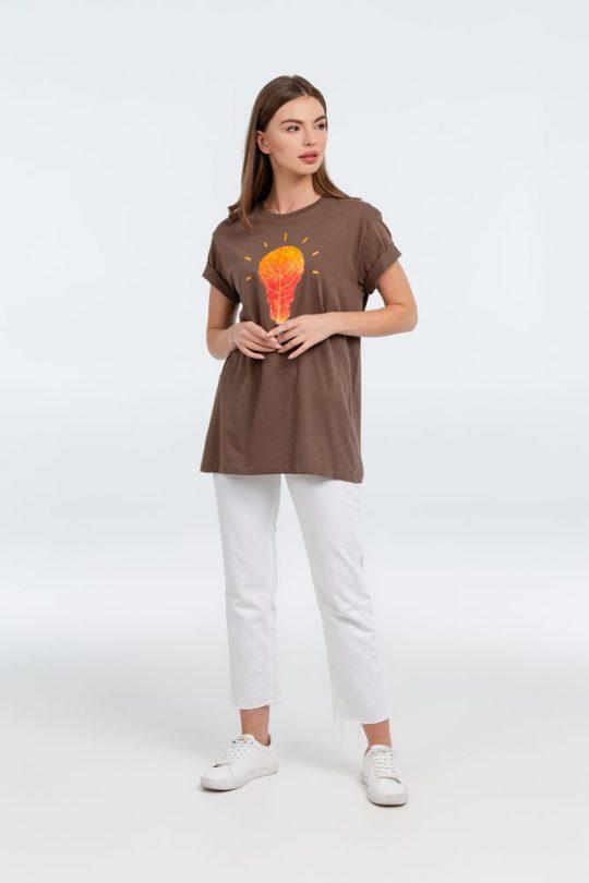 Футболка «Осенило», шоколадно-коричневая, размер S