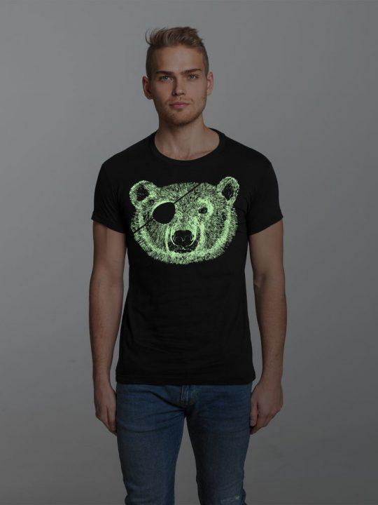 Футболка «Медведь-пират» со светящимся принтом, черная, размер XL