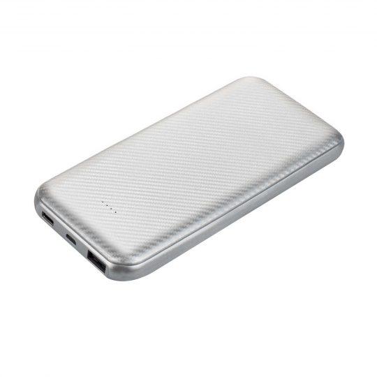 Внешний аккумулятор Carbon PB, 10000 mah, серебро