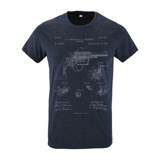 Футболка приталенная Old Patents. Revolver Gun, синий меланж, размер XXL