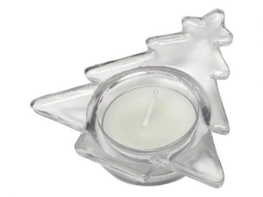 Подсвечник стеклянный со свечой, прозрачный, арт. 020742303