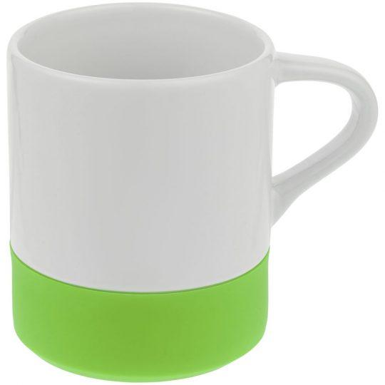 Кружка с силиконовой подставкой Protege, зеленое яблоко