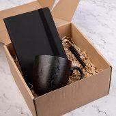 Набор подарочный BLACKNGOLD: кружка, ручка, бизнес-блокнот, коробка со стружкой