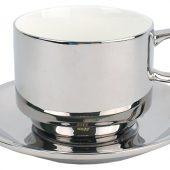 Серебряная чайная пара: чашка на 250 мл с блюдцем, арт. 020997403