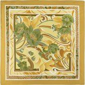Платок горчичный с цветочным рисунком 880*885 мм в подарочном мешке, арт. 020950503