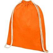Рюкзак со шнурком Oregon из хлопка плотностью 140г/м², оранжевый, арт. 021634503