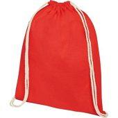 Рюкзак со шнурком Oregon из хлопка плотностью 140г/м², красный, арт. 021635103