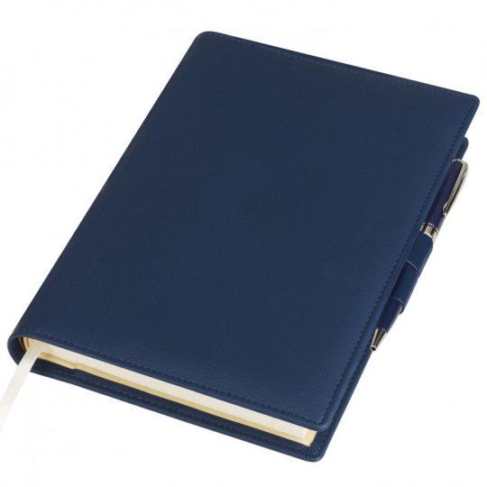 Ежедневник-портфолио Clip, синий, обложка soft touch, недатированный кремовый блок, подарочная коробка, в комплекте ручка Tesoro