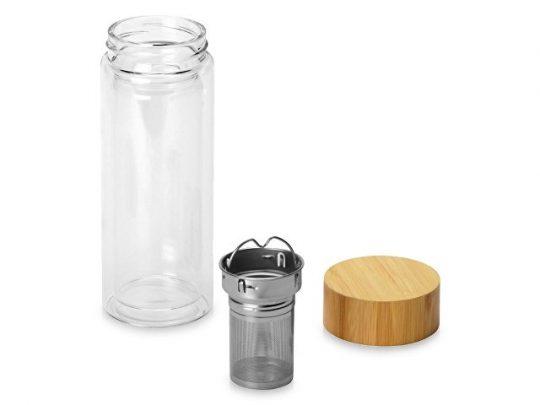 Стеклянный термос с двойными стенками и ситечком 320 мл Badachu, прозрачный, арт. 022902003