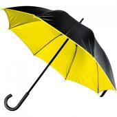 Зонт-трость с двойным куполом, черный с желтым