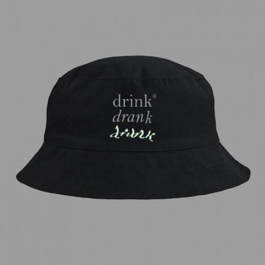Панама Drunk со светящимся принтом, черная