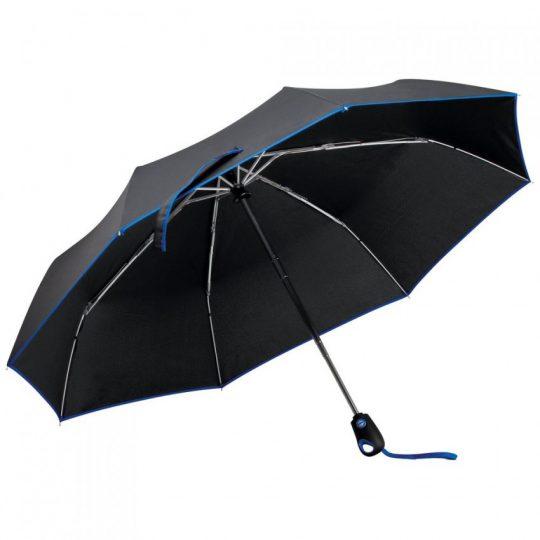 Складной зонт Drizzle, черный с синим