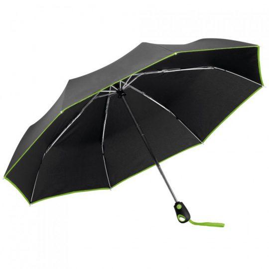Складной зонт Drizzle, черным с зеленым