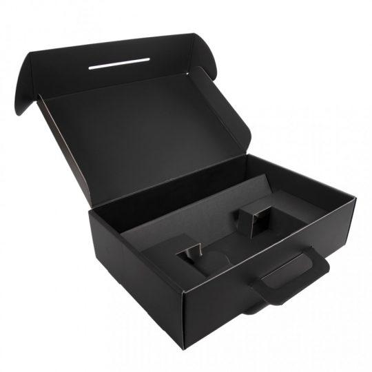 Коробка с ручкой подарочная, размер 37×25 x10 см,24x 36x 10 см, картон, самосборная, черная