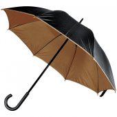 Зонт-трость Downtown, черный с коричневым