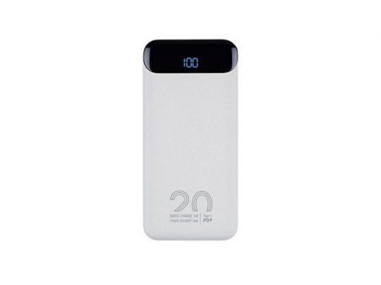 RIVACASE VA2580 (20 000mAh), QC/PD 20W внешний аккумулятор с дисплеем, белый /24, арт. 022973503