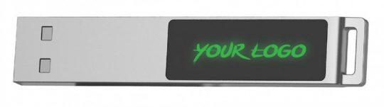 Флешка markBright с зеленой подсветкой, 16 Гб