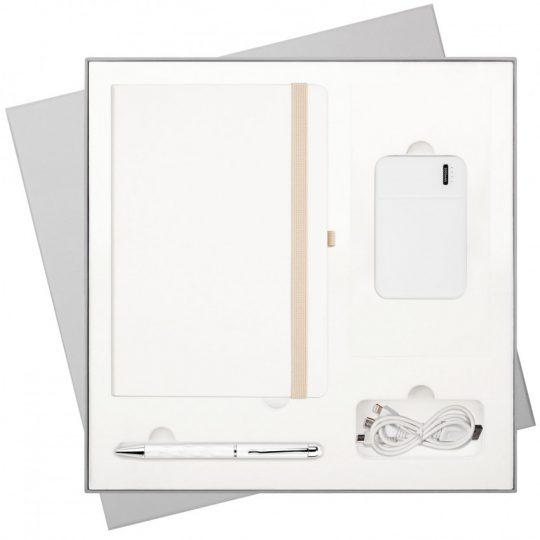 Подарочный набор Arctic/Crystal/Skyline (Ежедневник недат А5, Ручка, Power Bank)