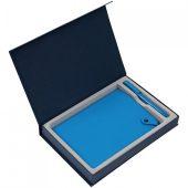 Коробка Silk с ложементом под ежедневник и ручку, синяя
