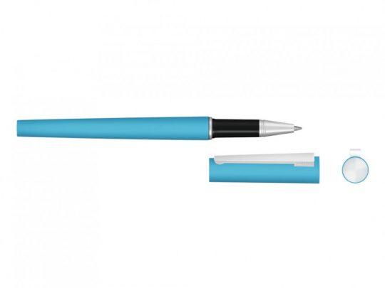 Ручка металлическая роллер Brush R GUM soft-touch с зеркальной гравировкой, голубой, арт. 023061403