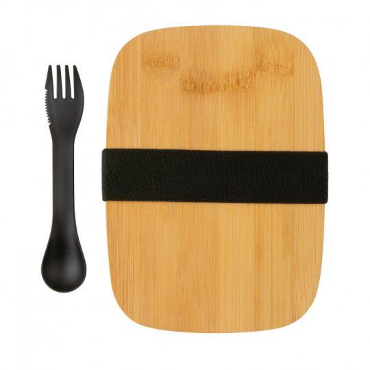 Ланч-бокс из нержавеющей стали с бамбуковой крышкой и столовым прибором, арт. 023068406