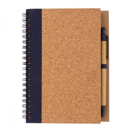 Блокнот на спирали Cork с ручкой, арт. 023069006