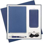 Подарочный набор Carbon/Alt/Carbon синий (ежедневник, ручка, пауер-банк)