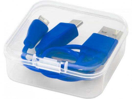 Двусторонний кабель для зарядки Ario3-в-1 в тканевой оплетке, синий, арт. 023797403