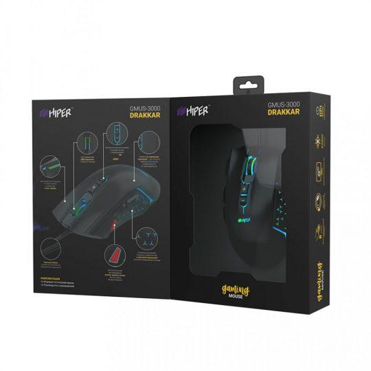 Мышь игровая HIPER DRAKKAR GMUS-3000, черный