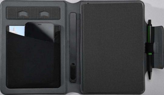 Органайзер с блокнотом и аккумулятором Oiro, черный