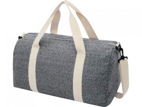 Спортивная сумка из переработанного хлопка и полиэстера плотностью 210 г/м² Pheebs, черный/натуральн, арт. 023844003