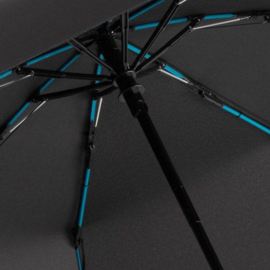Зонт складной AOC Mini с цветными спицами, бирюзовый