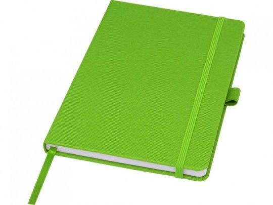 Блокнот Honua форматом A5 из переработанной бумаги с обложкой из переработанного ПЭТ, зеленый лайм, арт. 023847603